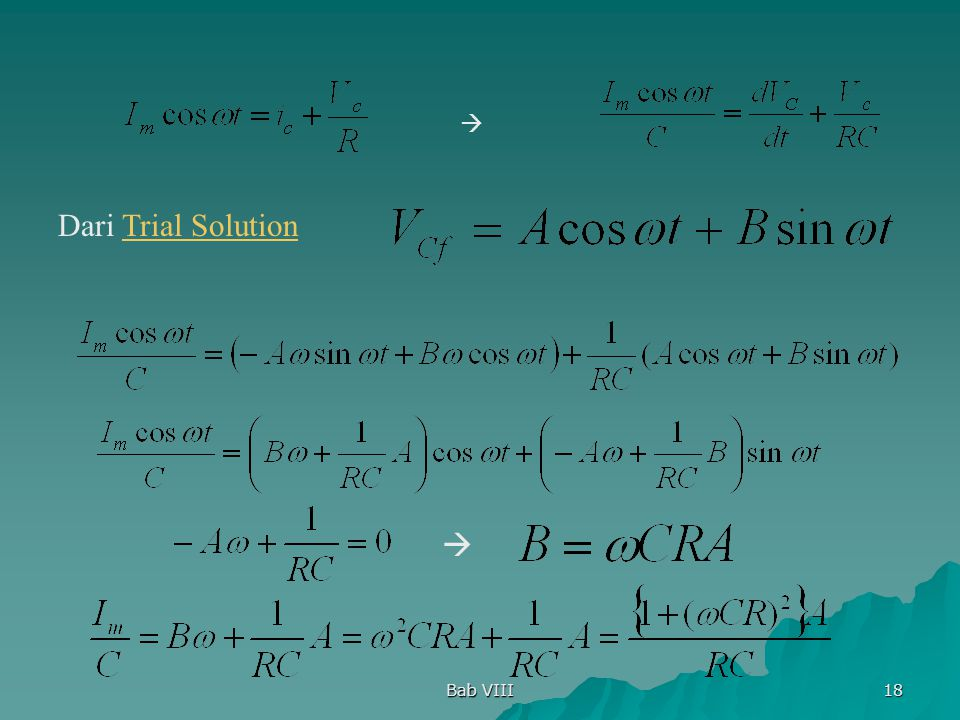  Dari Trial Solution  Bab VIII