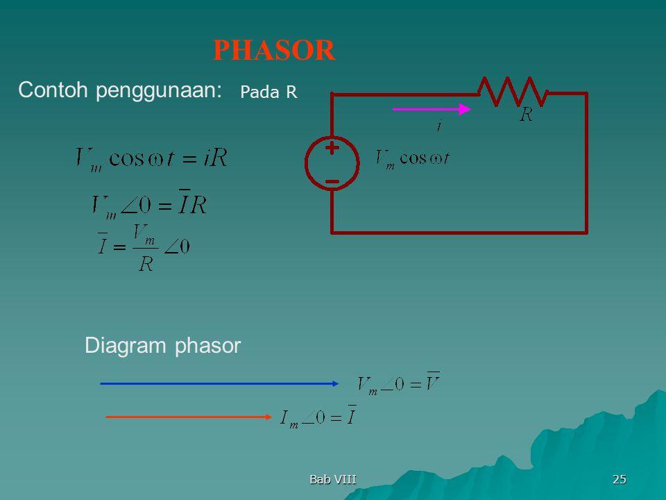 PHASOR Contoh penggunaan: Pada R Diagram phasor Bab VIII