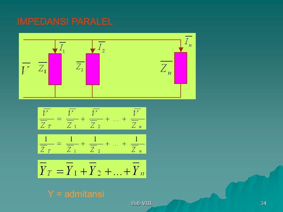 IMPEDANSI PARALEL Y = admitansi Bab VIII