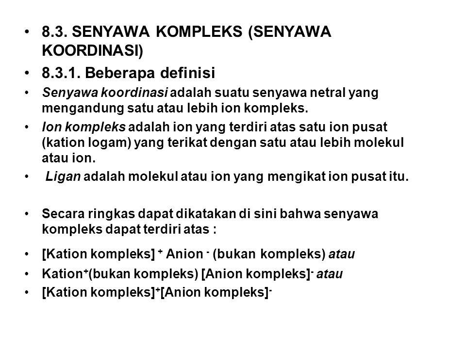 8.3. SENYAWA KOMPLEKS (SENYAWA KOORDINASI) 8.3.1. Beberapa definisi