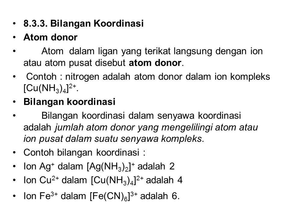 8.3.3. Bilangan Koordinasi Atom donor. Atom dalam ligan yang terikat langsung dengan ion atau atom pusat disebut atom donor.