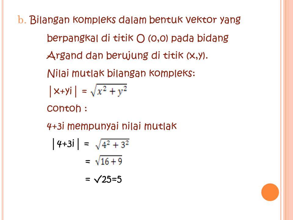 b. Bilangan kompleks dalam bentuk vektor yang