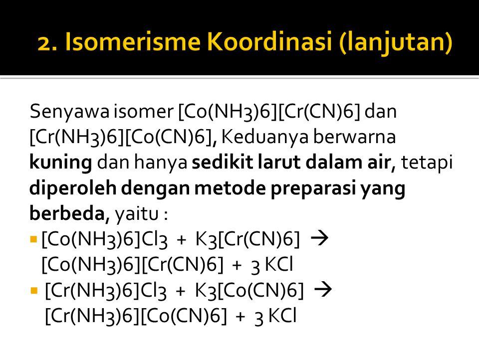 2. Isomerisme Koordinasi (lanjutan)