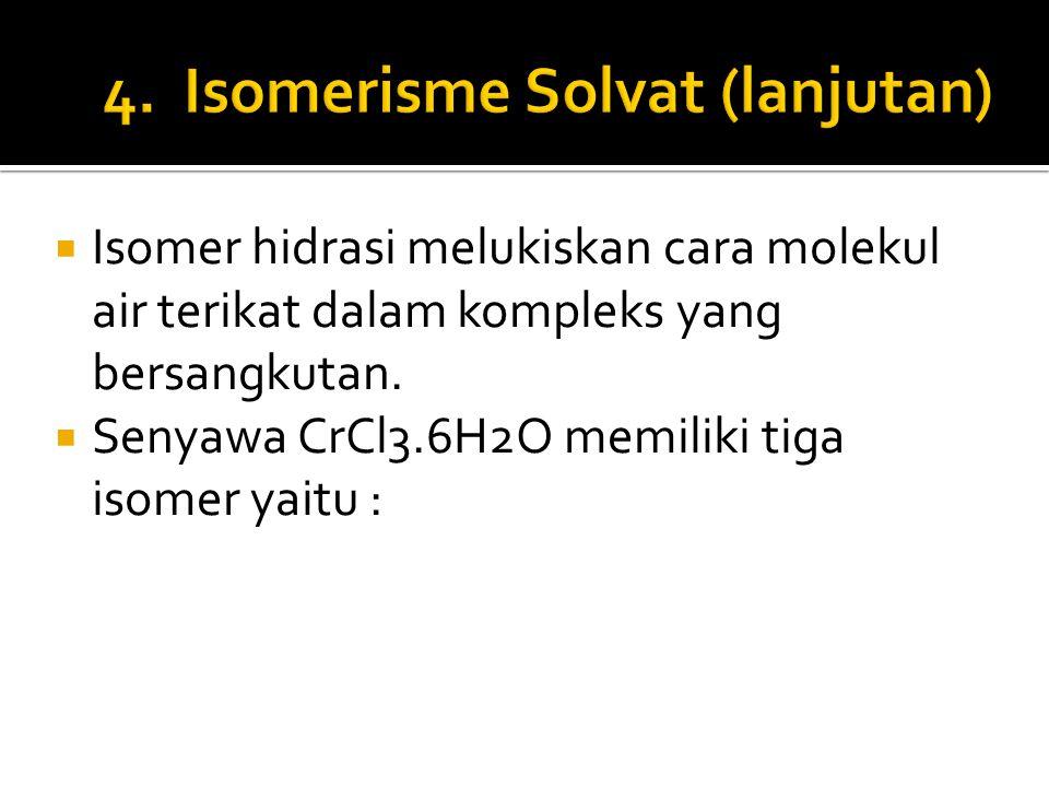 4. Isomerisme Solvat (lanjutan)