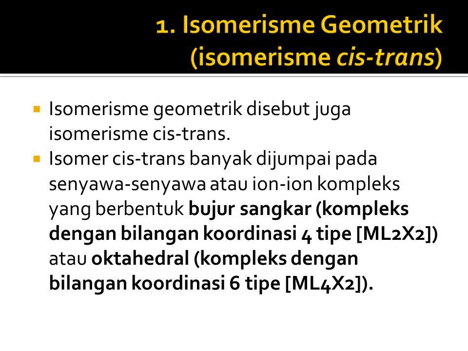 1. Isomerisme Geometrik (isomerisme cis-trans)