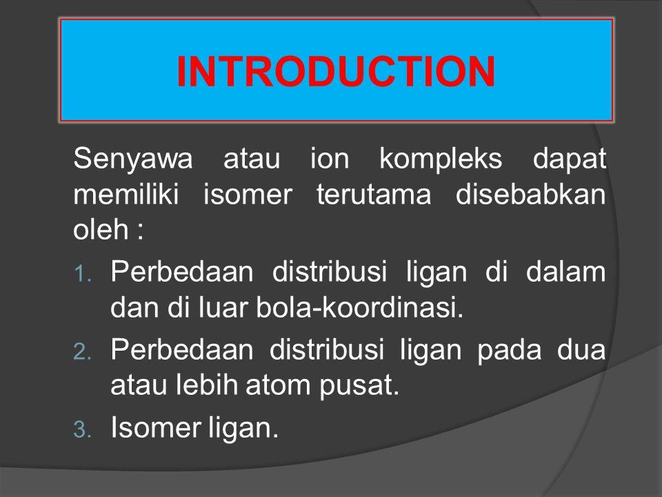 INTRODUCTION Senyawa atau ion kompleks dapat memiliki isomer terutama disebabkan oleh :
