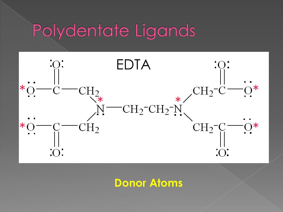 Polydentate Ligands EDTA * * * * * * Donor Atoms