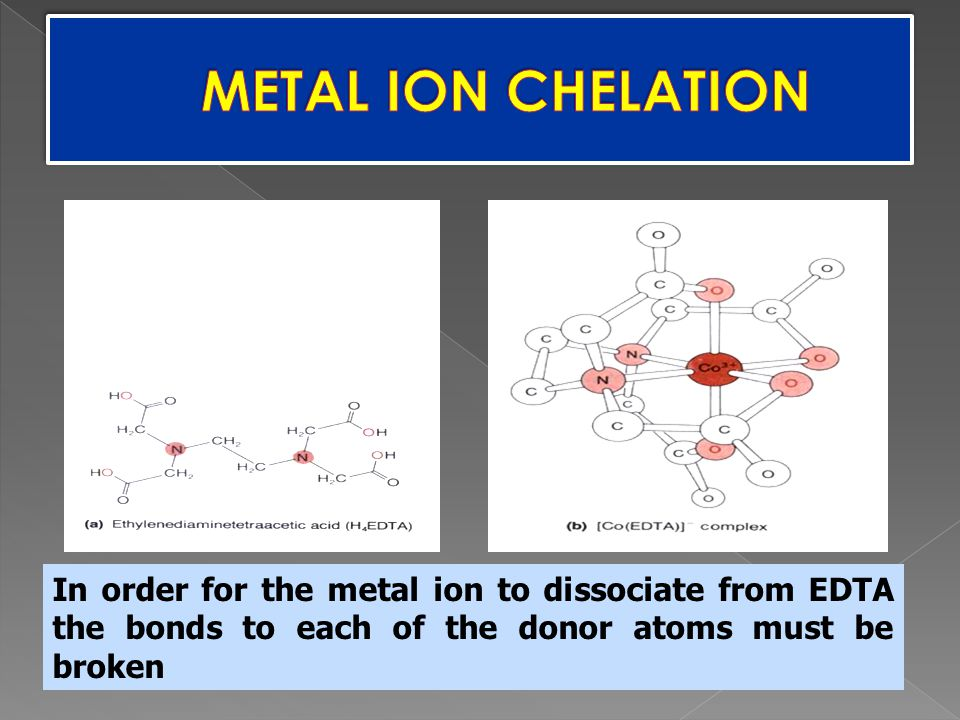 METAL ION CHELATION Chelate: multiple donor atoms from a single ligand coordinating a metal ion.
