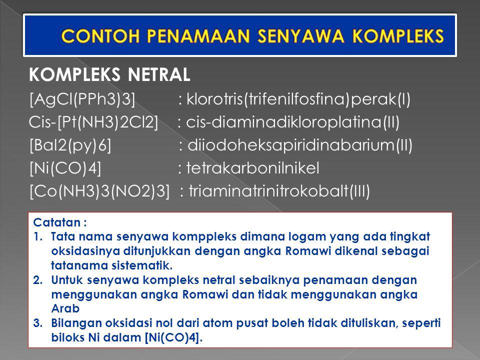 CONTOH PENAMAAN SENYAWA KOMPLEKS