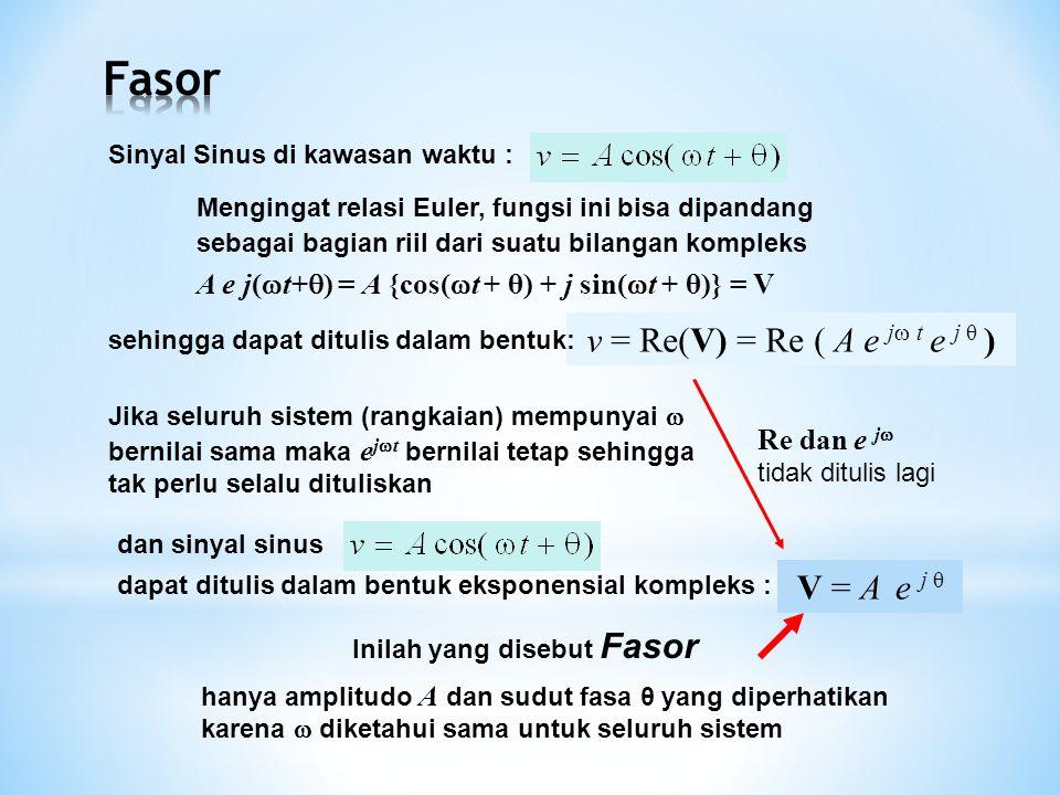 Fasor v = Re(V) = Re ( A e j t e j θ ) V = A e j θ