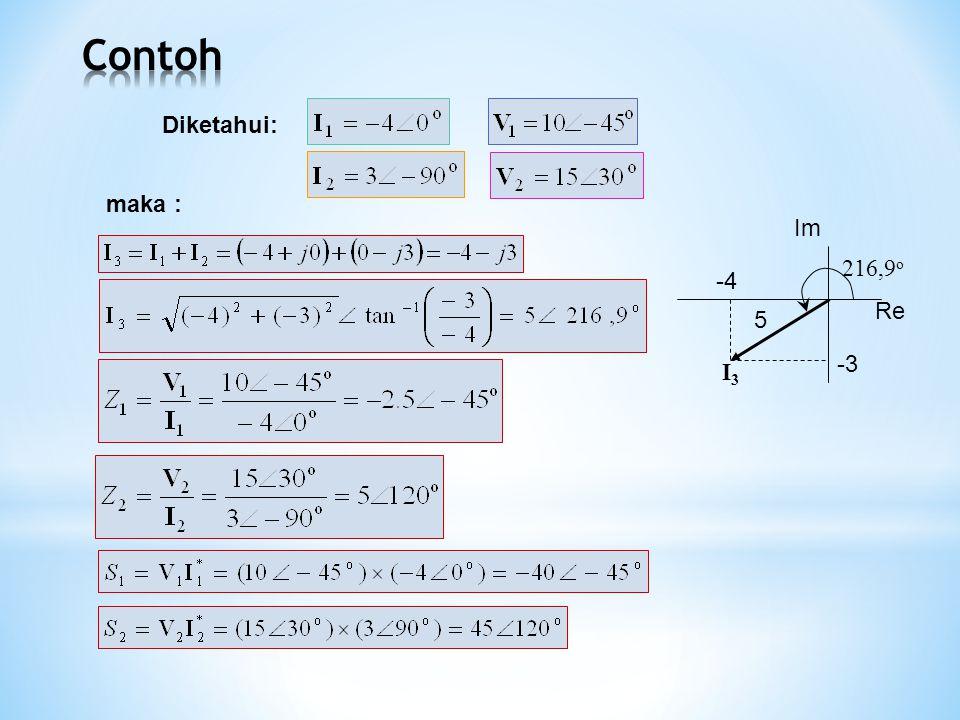 Contoh Diketahui: maka : Re I3 -4 -3 Im 216,9o 5