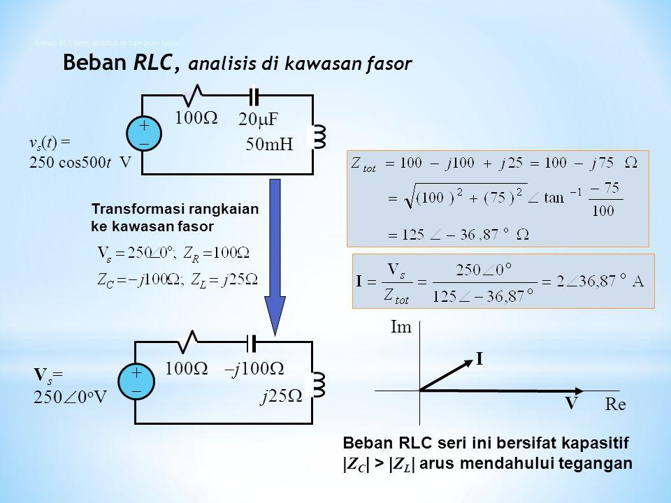 Beban RLC Seri, analisis di kawasan fasor