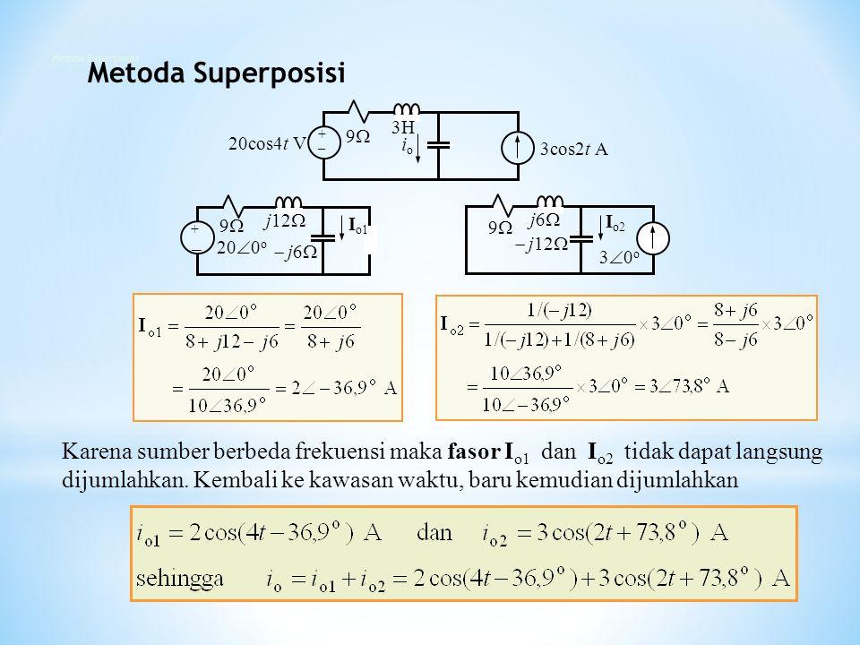 Metoda Superposisi Metoda Superposisi. 20cos4t V. + _. 9 3cos2t A. io. 3H. 200o. + _. 9