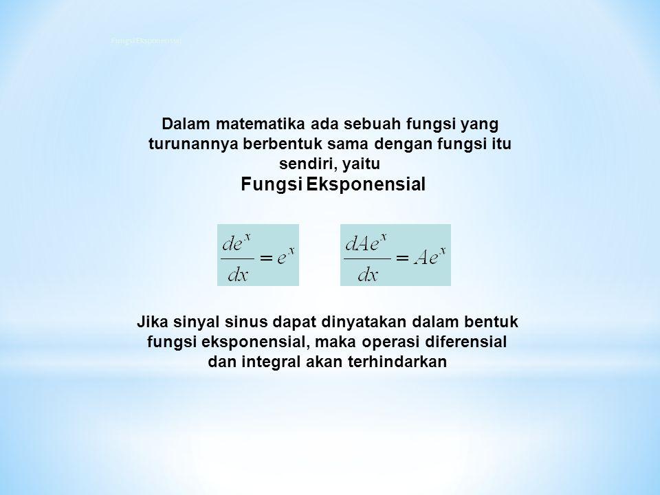 Fungsi Eksponensial Dalam matematika ada sebuah fungsi yang turunannya berbentuk sama dengan fungsi itu sendiri, yaitu.