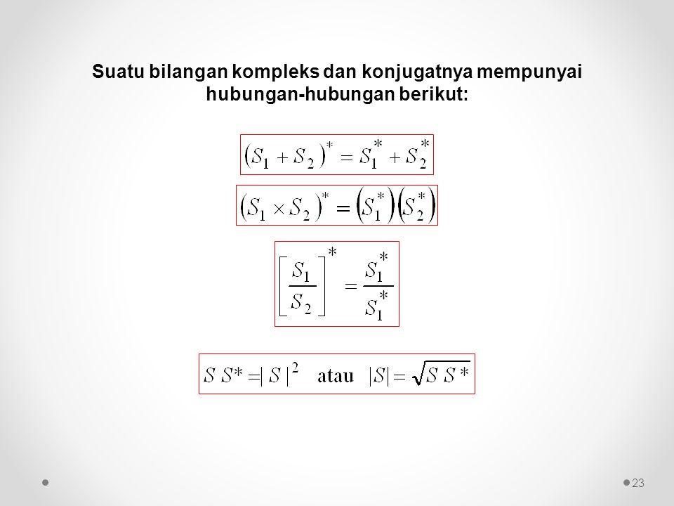 Suatu bilangan kompleks dan konjugatnya mempunyai hubungan-hubungan berikut: