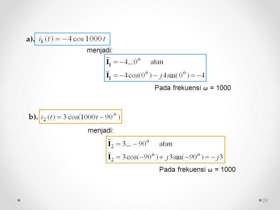 a). b). menjadi: Pada frekuensi  = 1000 menjadi: