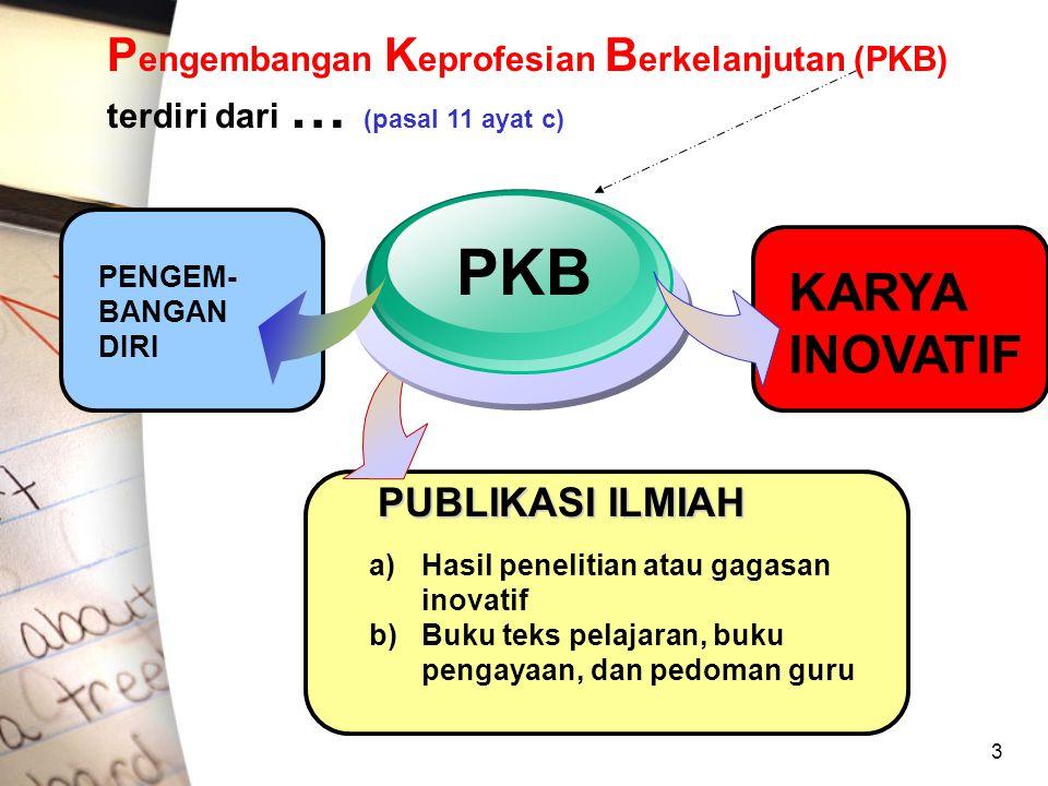 Pengembangan Keprofesian Berkelanjutan (PKB) terdiri dari … (pasal 11 ayat c)