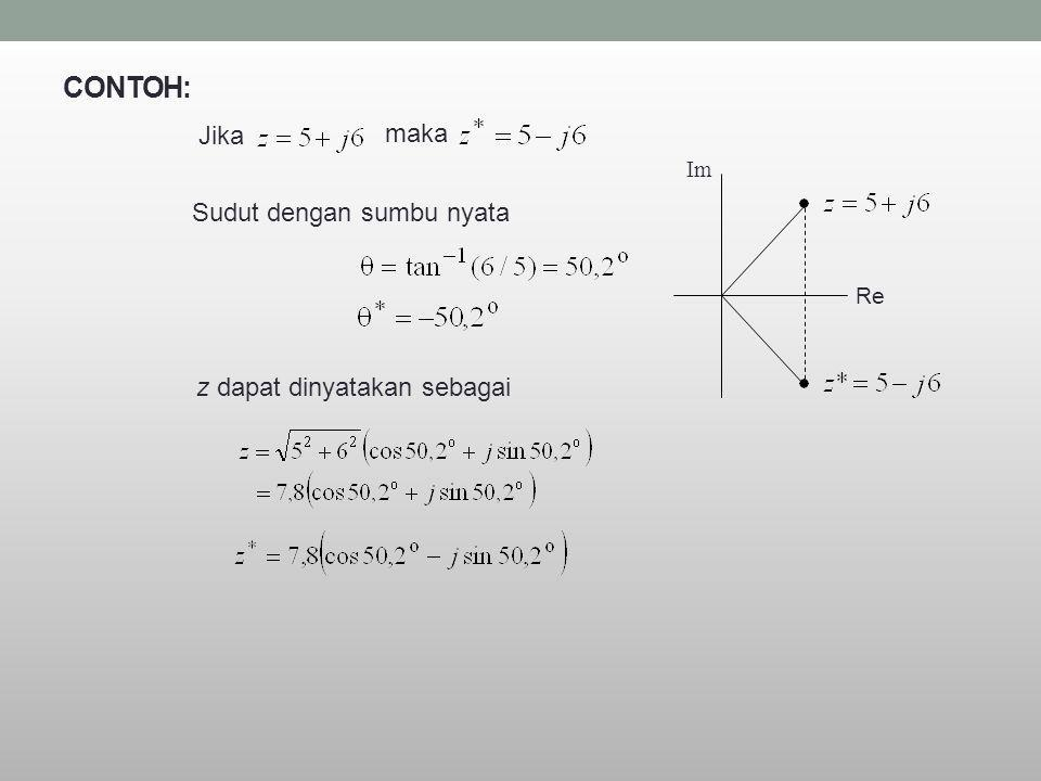 CONTOH: Jika maka Sudut dengan sumbu nyata z dapat dinyatakan sebagai
