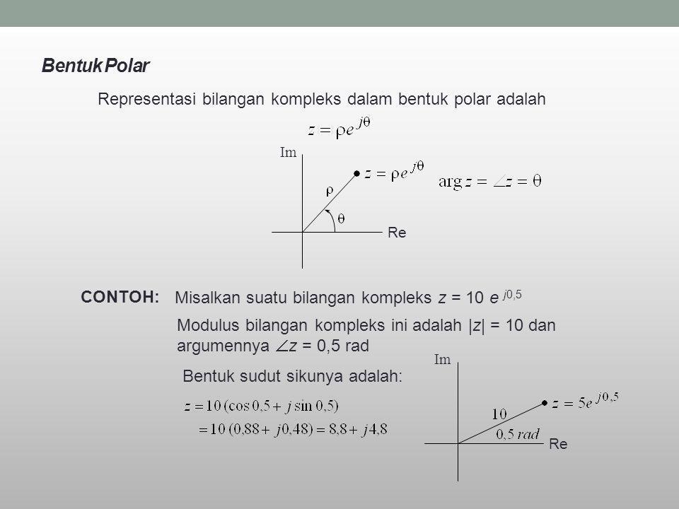 Bentuk Polar Representasi bilangan kompleks dalam bentuk polar adalah