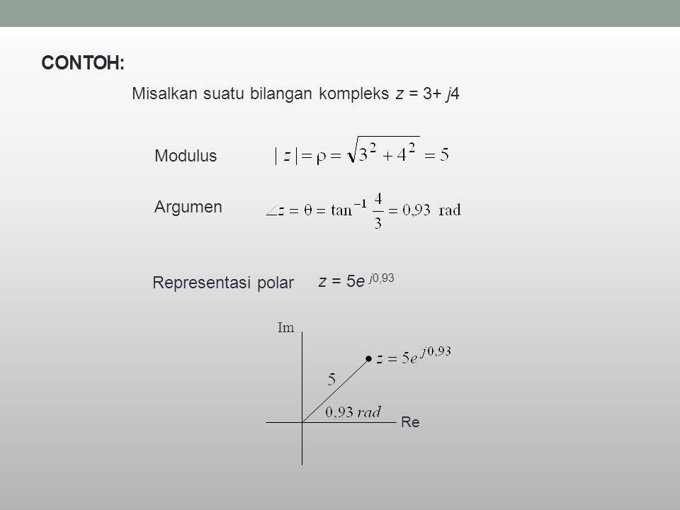 CONTOH: Misalkan suatu bilangan kompleks z = 3+ j4 Modulus Argumen