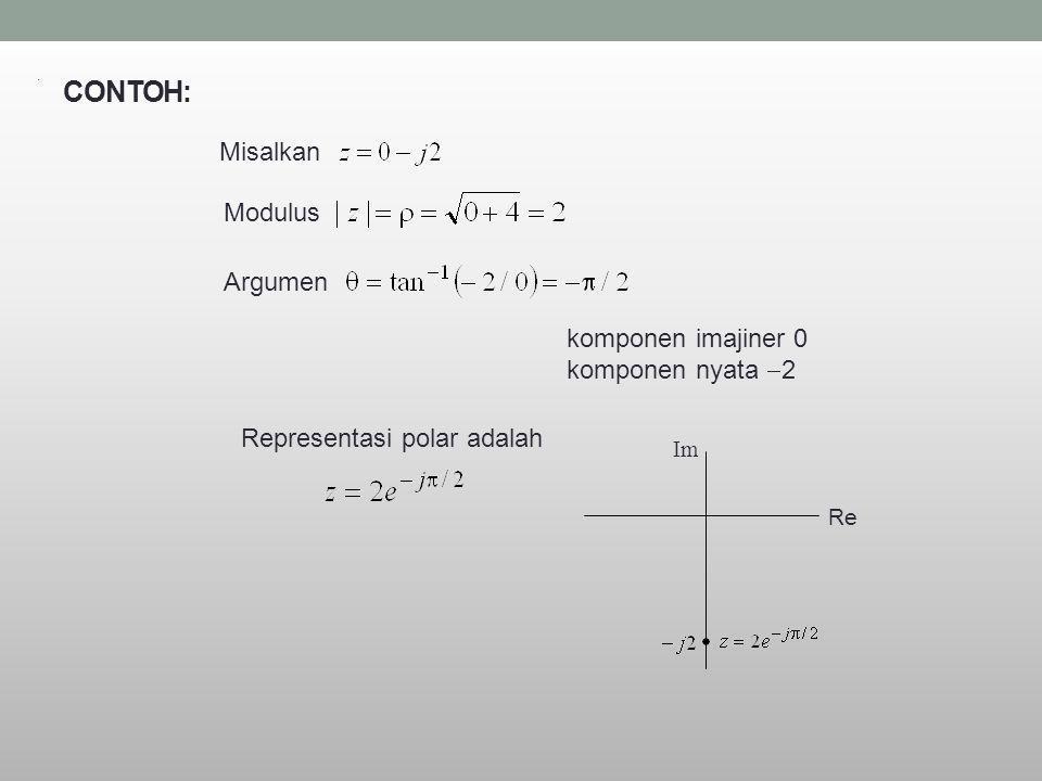 CONTOH: Misalkan Modulus Argumen komponen imajiner 0 komponen nyata 2