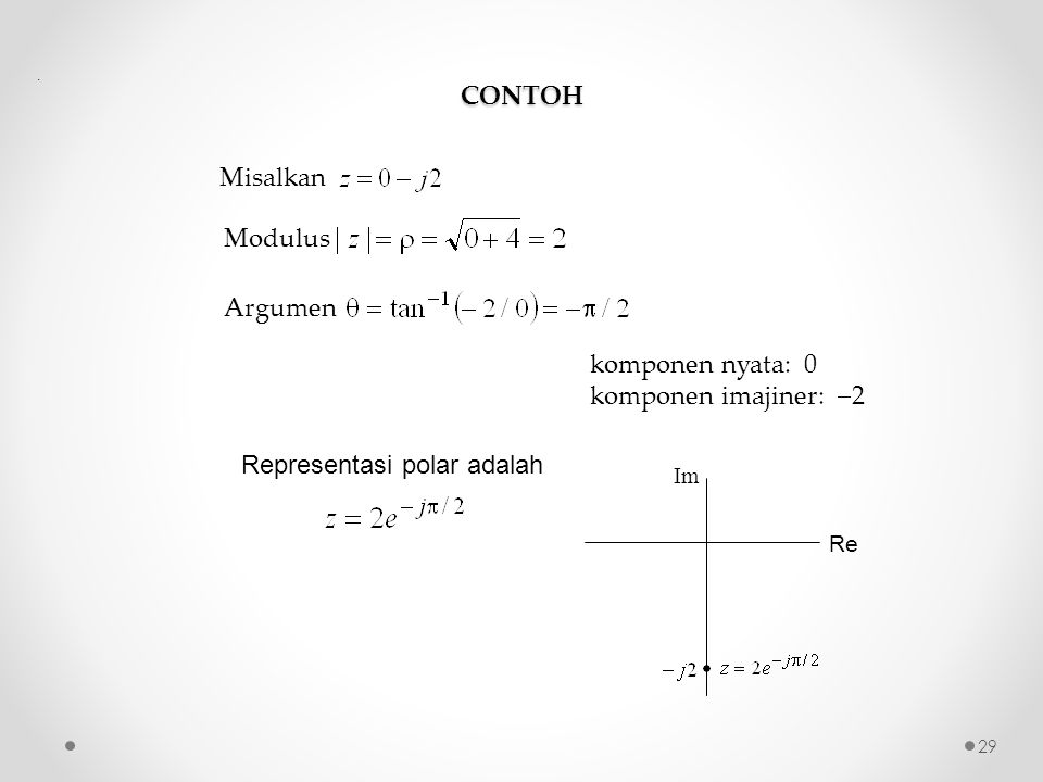 komponen nyata: 0 komponen imajiner: 2