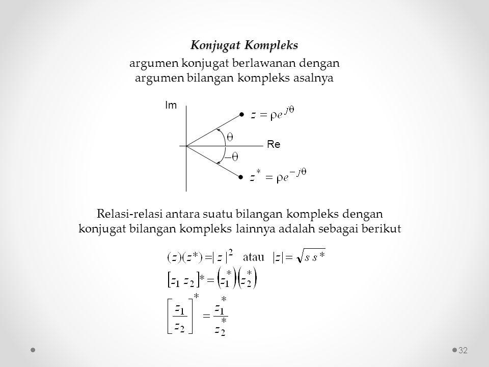 argumen konjugat berlawanan dengan argumen bilangan kompleks asalnya