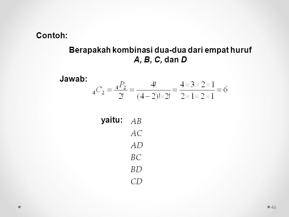 Berapakah kombinasi dua-dua dari empat huruf