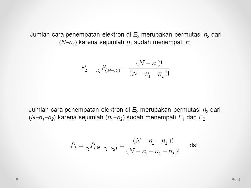 Jumlah cara penempatan elektron di E2 merupakan permutasi n2 dari (Nn1) karena sejumlah n1 sudah menempati E1