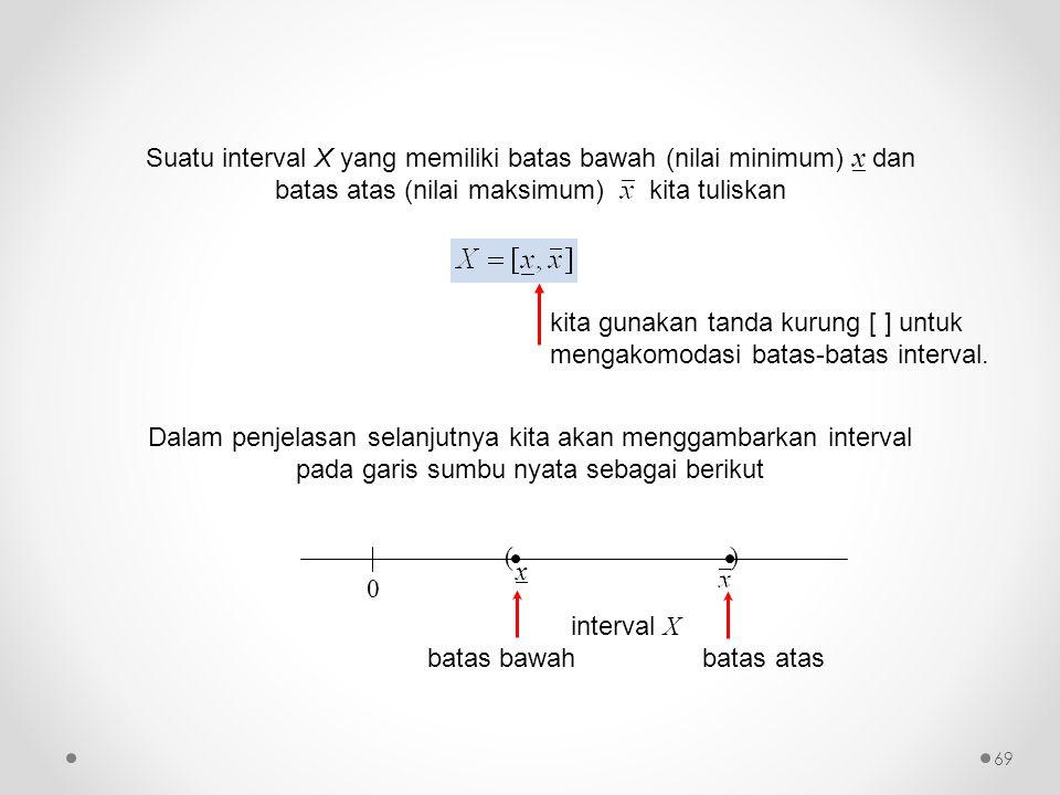Suatu interval X yang memiliki batas bawah (nilai minimum) x dan batas atas (nilai maksimum) kita tuliskan