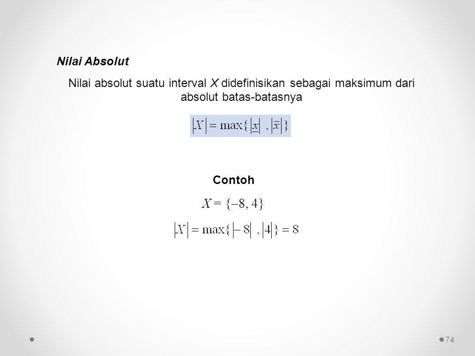 Nilai Absolut Nilai absolut suatu interval X didefinisikan sebagai maksimum dari absolut batas-batasnya.