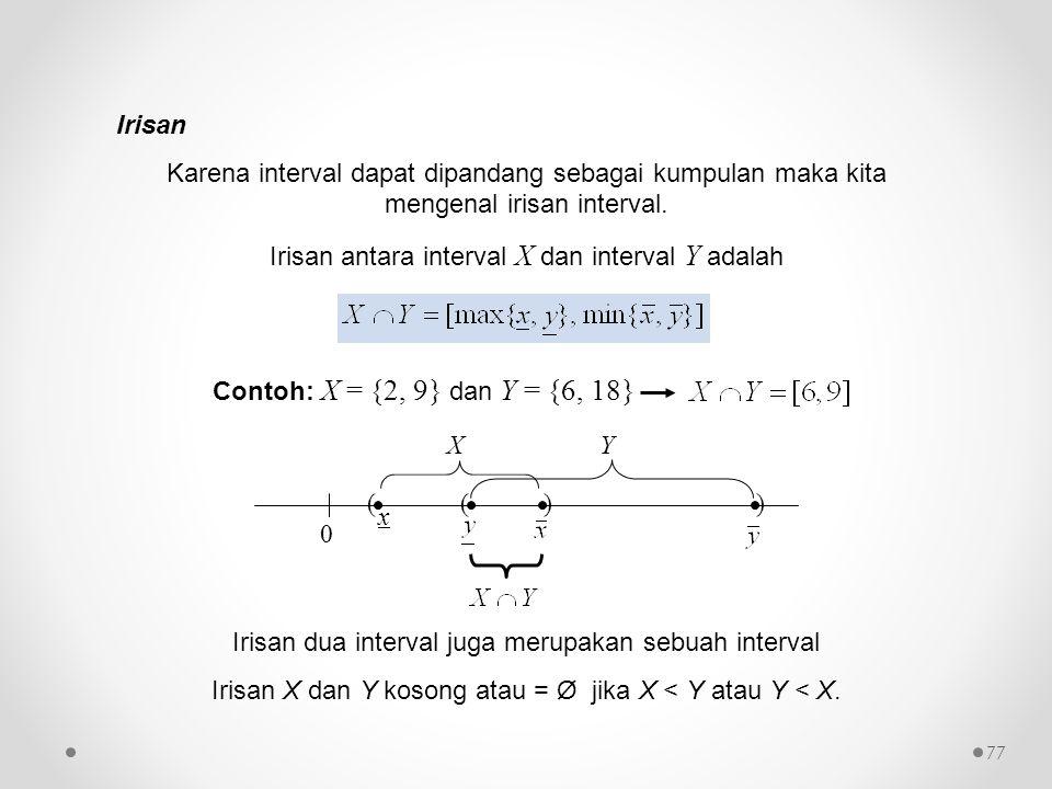 Irisan antara interval X dan interval Y adalah