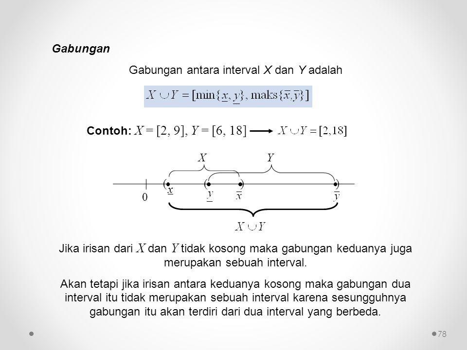 Gabungan antara interval X dan Y adalah