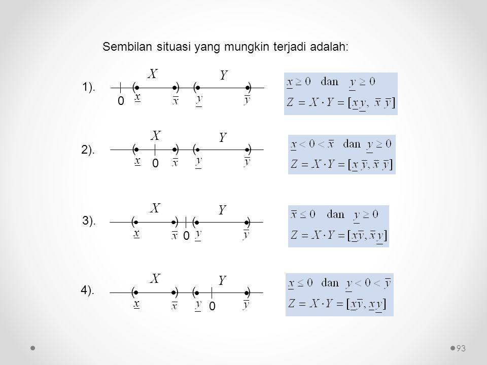 X Y X Y X Y X Y Sembilan situasi yang mungkin terjadi adalah: ( ) x