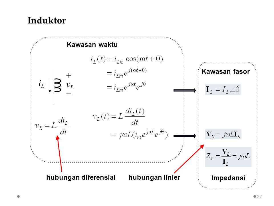 Induktor + iL vL  Kawasan waktu Kawasan fasor hubungan diferensial
