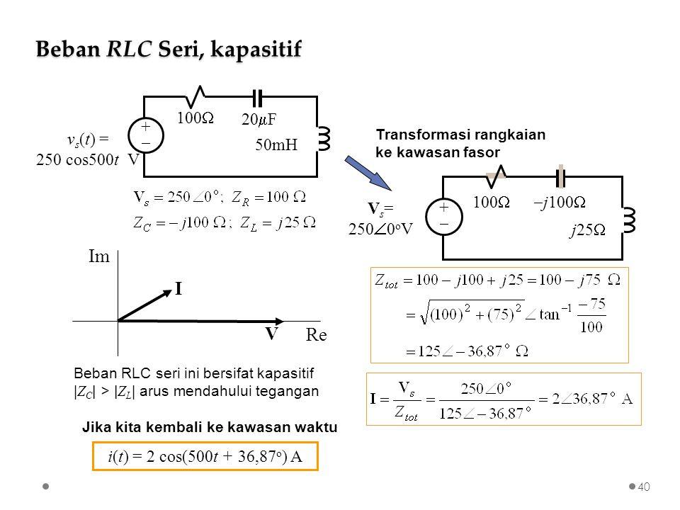 Beban RLC Seri, kapasitif