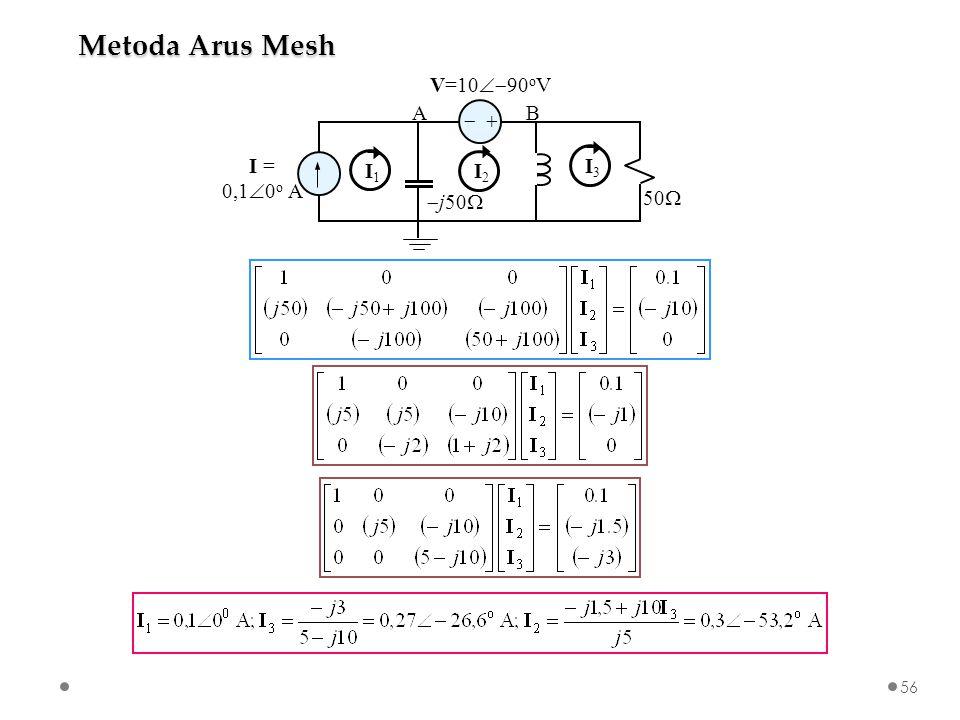 Metoda Arus Mesh   I = 0,10o A V=1090oV j50 50 A B I1 I2 I3