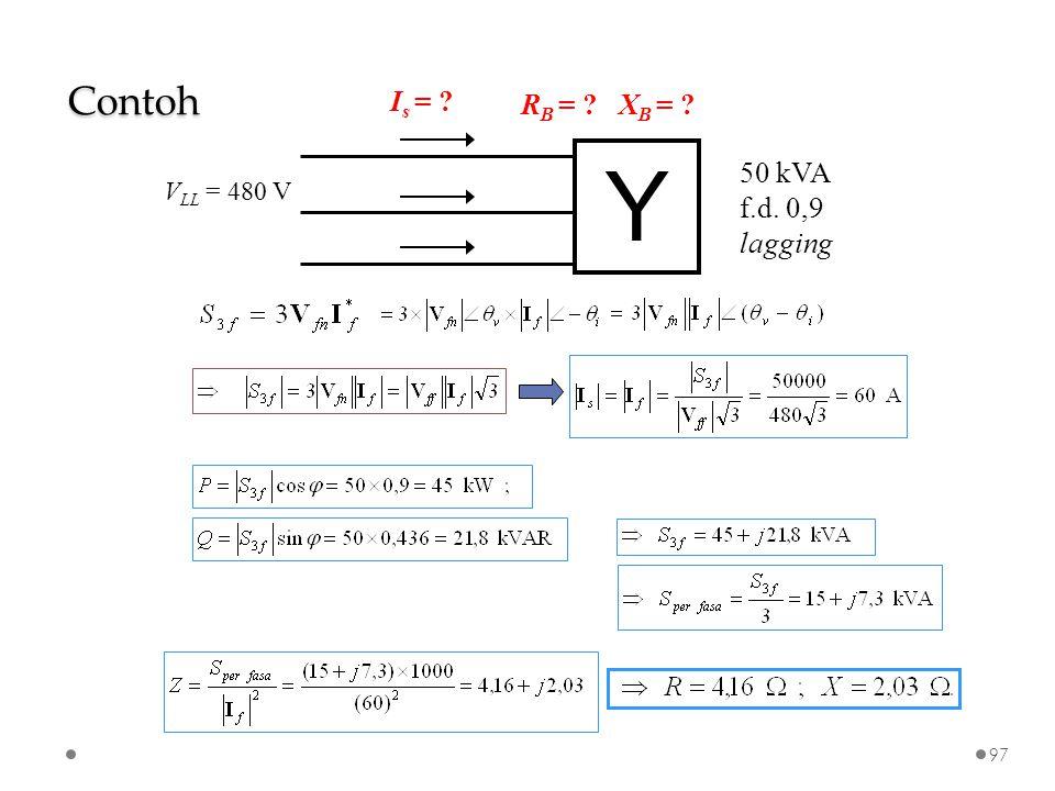 Contoh Y 50 kVA f.d. 0,9 lagging VLL = 480 V Is = RB = XB =