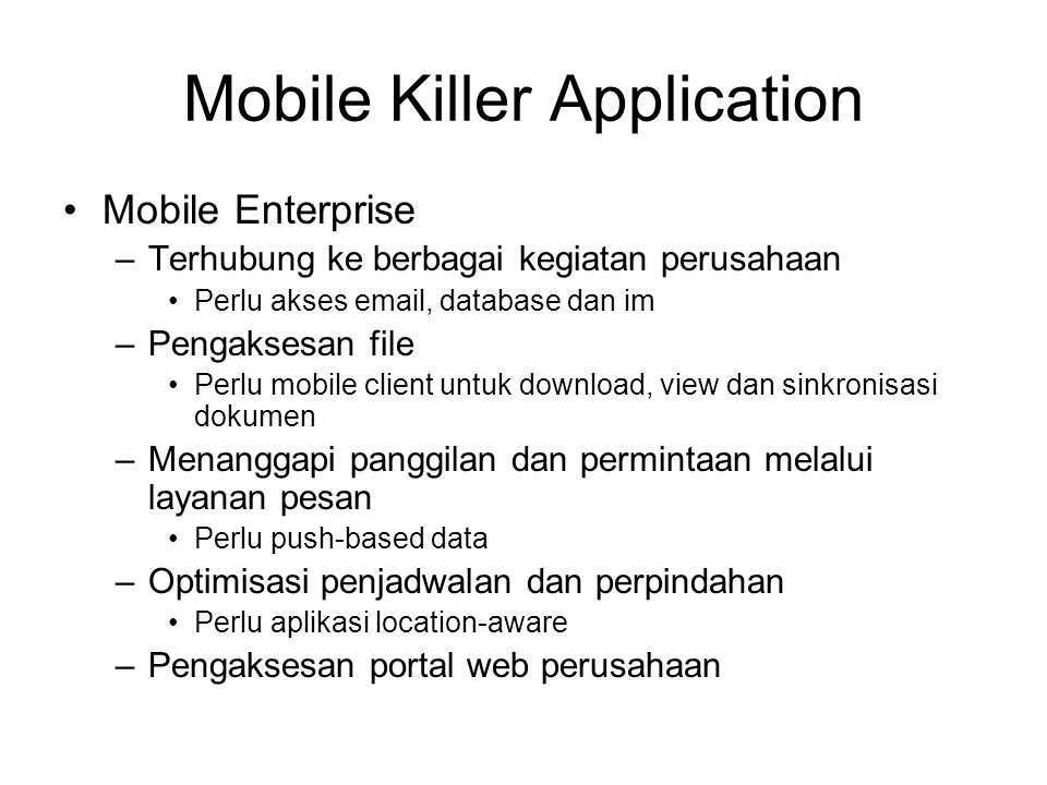 Mobile Killer Application
