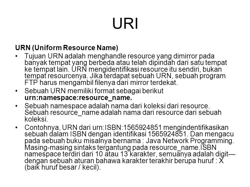 URI URN (Uniform Resource Name)
