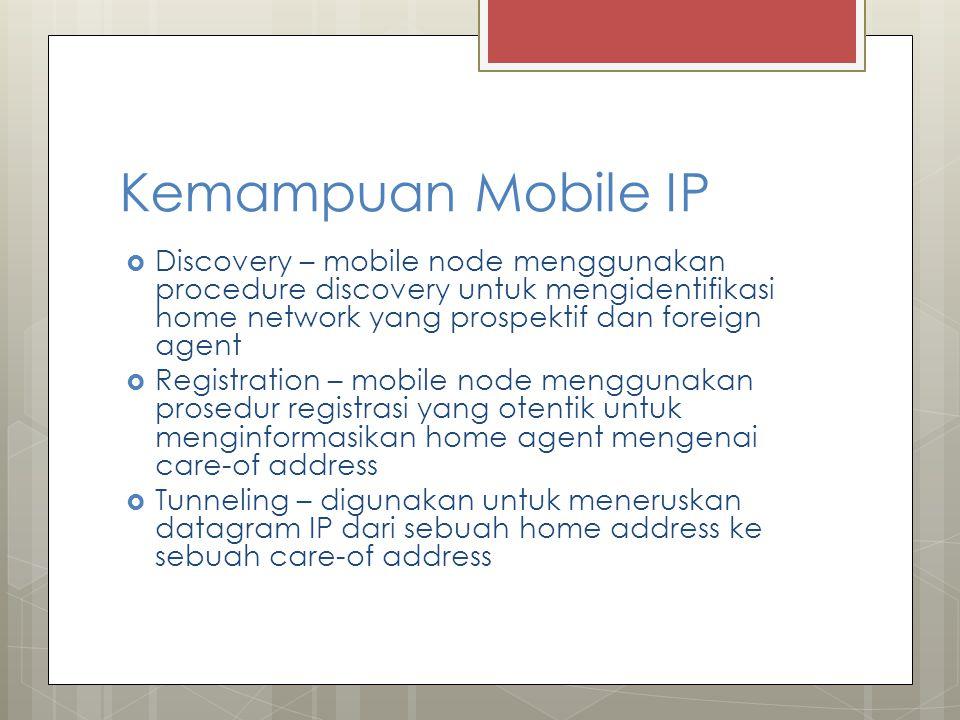 Kemampuan Mobile IP Discovery – mobile node menggunakan procedure discovery untuk mengidentifikasi home network yang prospektif dan foreign agent.