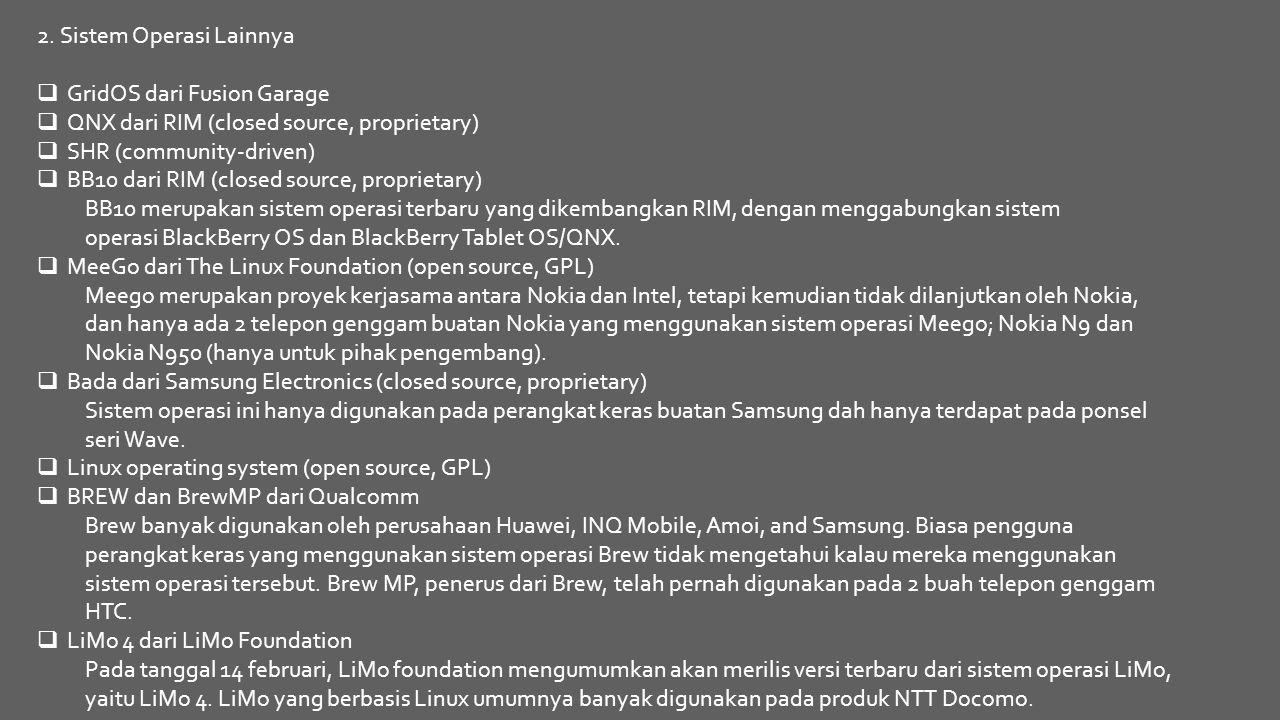 2. Sistem Operasi Lainnya