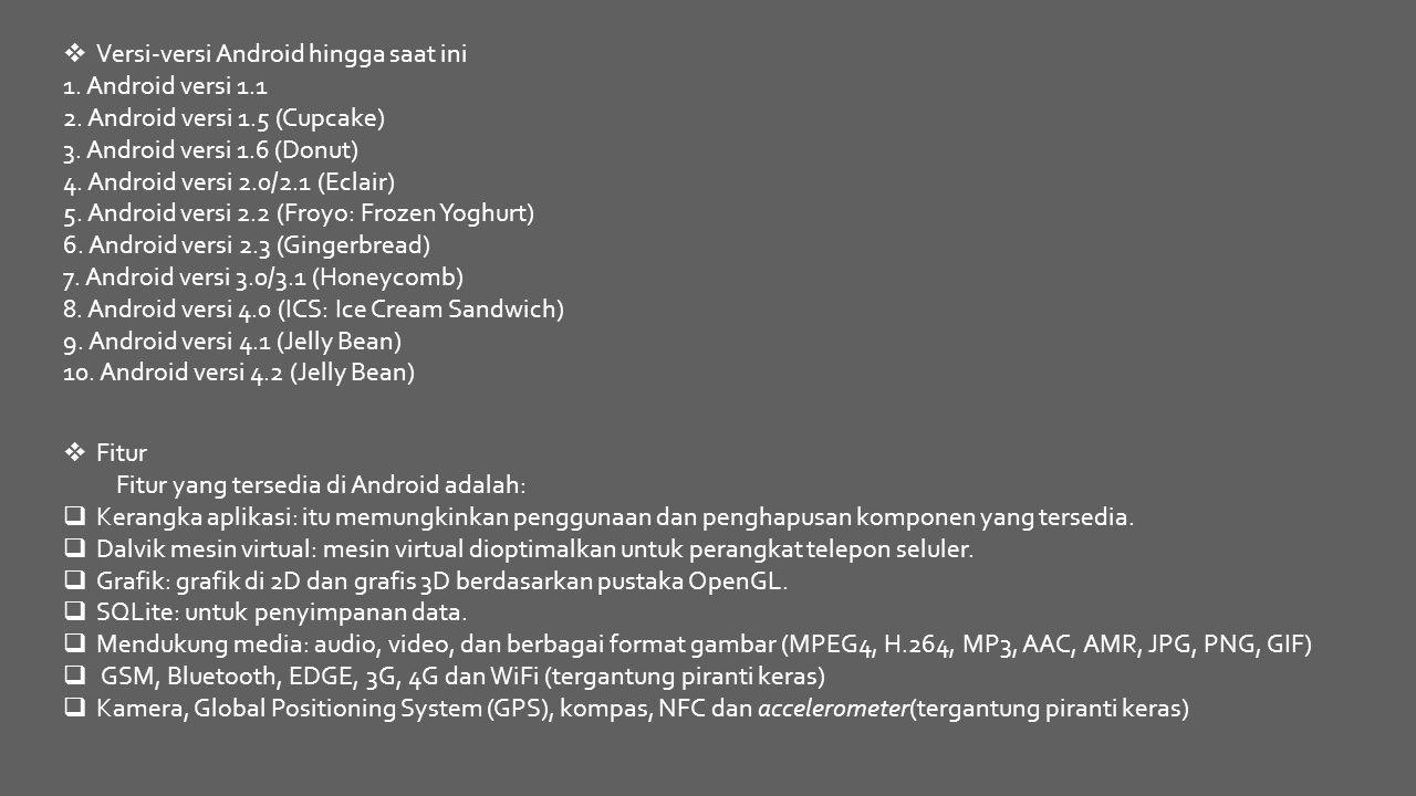 Versi-versi Android hingga saat ini