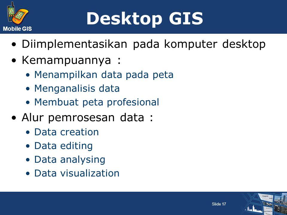 Desktop GIS Diimplementasikan pada komputer desktop Kemampuannya :