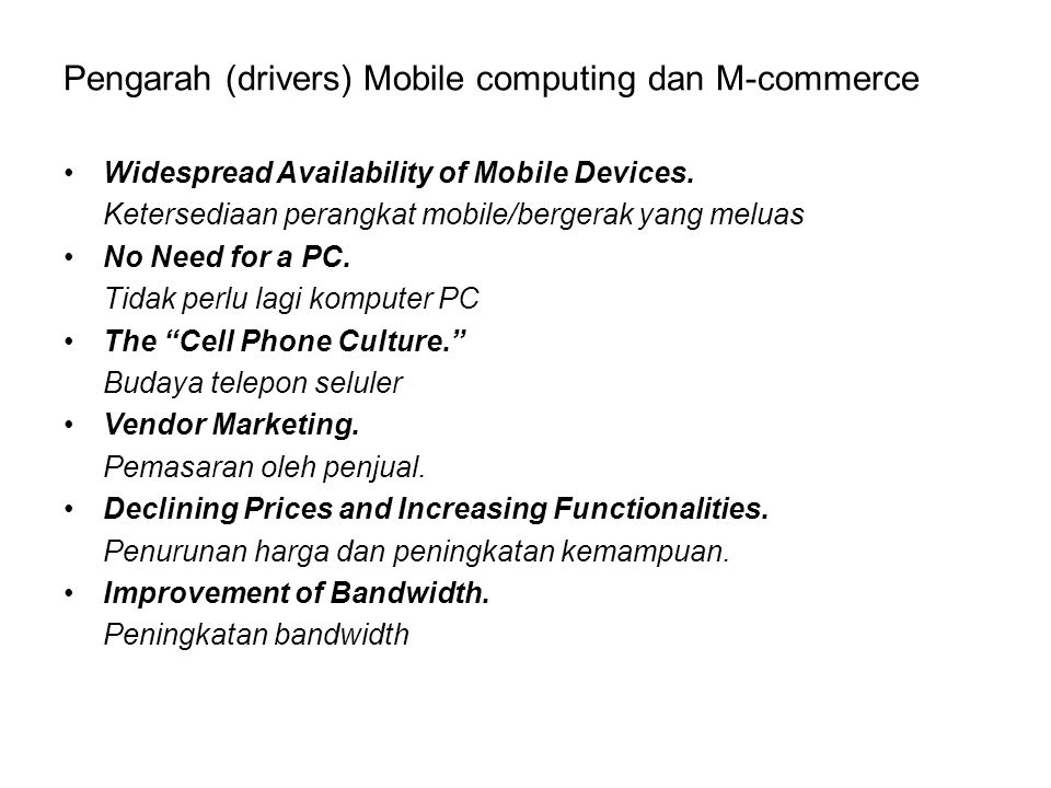Pengarah (drivers) Mobile computing dan M-commerce