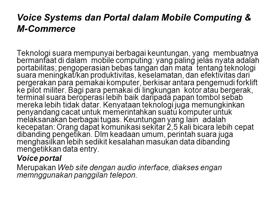 Voice Systems dan Portal dalam Mobile Computing & M-Commerce