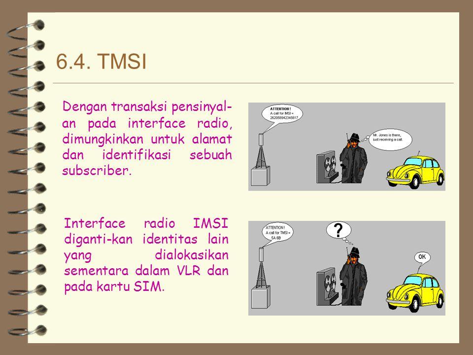 6.4. TMSI Dengan transaksi pensinyal-an pada interface radio, dimungkinkan untuk alamat dan identifikasi sebuah subscriber.
