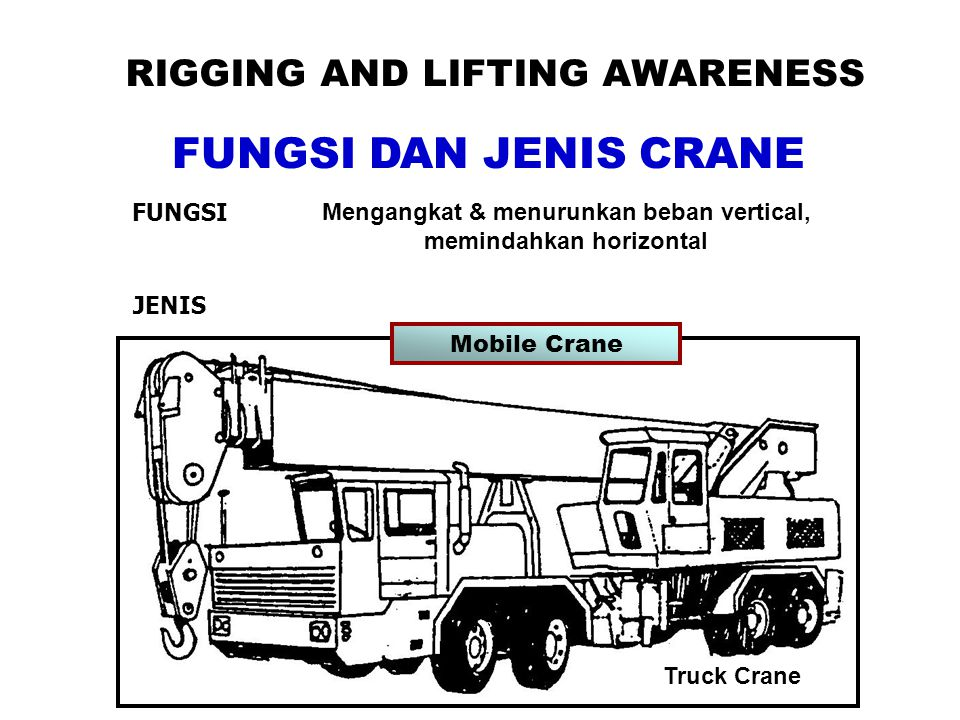 FUNGSI DAN JENIS CRANE RIGGING AND LIFTING AWARENESS FUNGSI