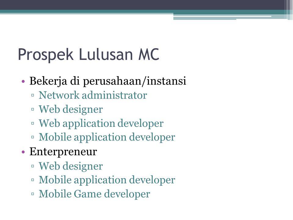 Prospek Lulusan MC Bekerja di perusahaan/instansi Enterpreneur