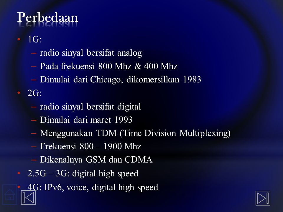 Perbedaan 1G: radio sinyal bersifat analog